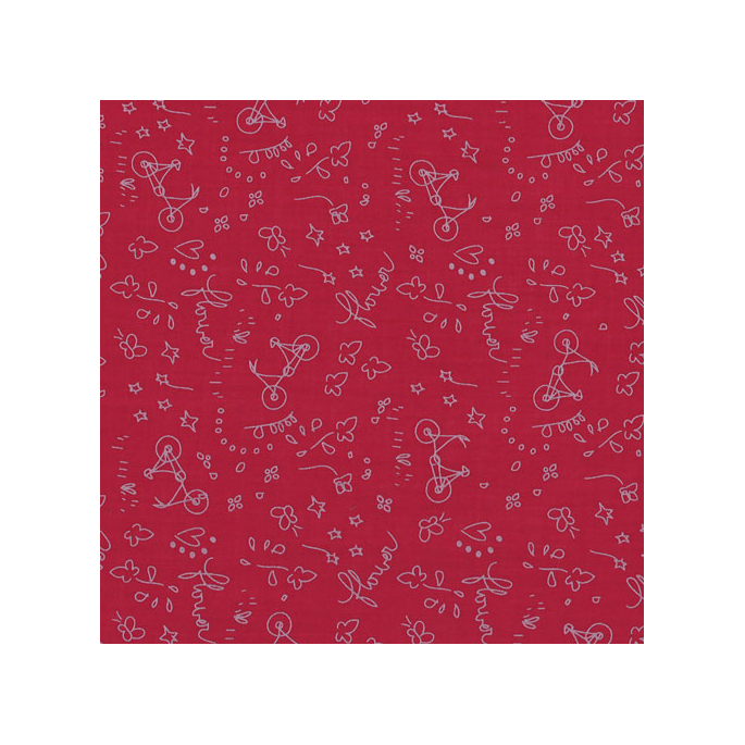 Light Cotton A Bicyclette Bordeaux 114 by Frou-frou (per 10cm)