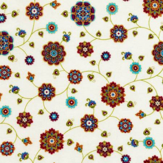 Cotton print Fortuna Cream Timeless Treasures (per 10cm)