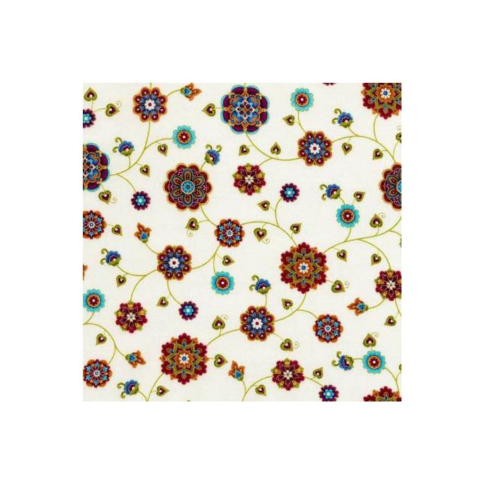 Coton imprimé Fortuna Cream Timeless Treasures (par 10cm)