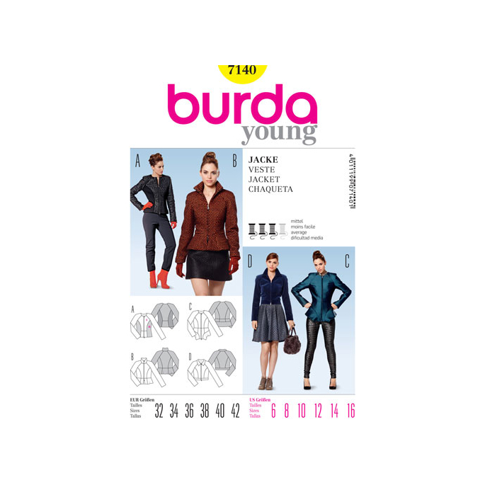 Burda Young 7140 Women Jacket Pattern