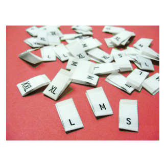 "10 woven labels ""XL"" (white background)"