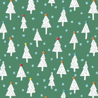 Coton Bio imprimé Noel Snowy Trees Cloud9