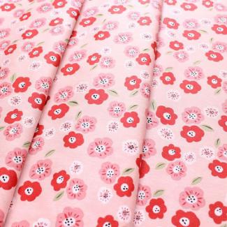 Organic cotton print Cottage Garden Pansies Monaluna