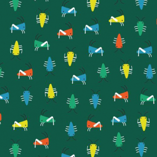 Organic cotton Interlock Sidewalk Bugs Green Cloud9 (per 10cm)