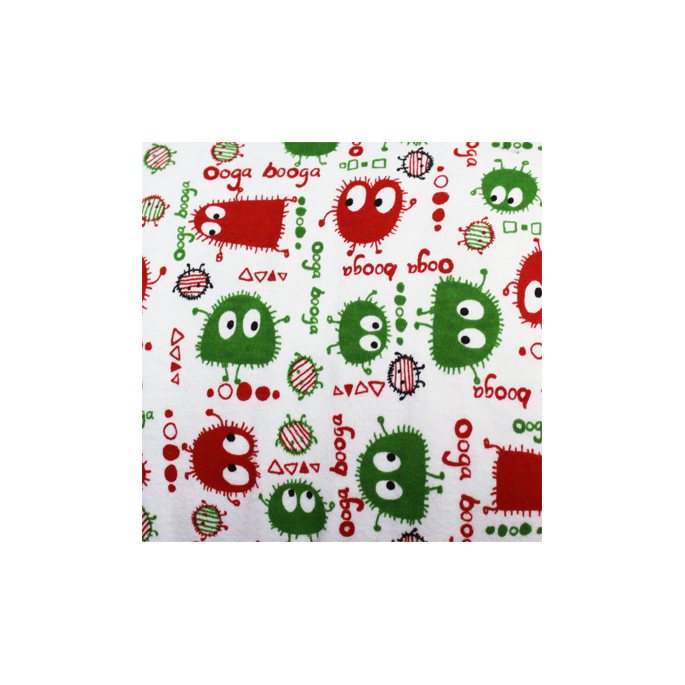 Cotton interlock Red and Green Ooga booga (by meter)