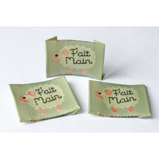 "10 woven labels ""Fait main"" Sheep"
