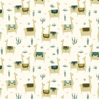 Organic cotton print Faraway Places Llama Llife Ivory Cloud9