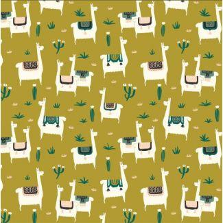Organic cotton print Faraway Places Llama Llife Mustard Cloud9