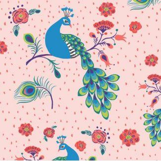 Organic cotton print Festival Pretty Peacock Monaluna