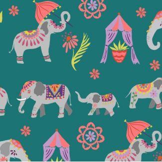 Organic cotton print Festival Elephant Parade Monaluna