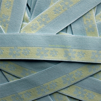 Biais élastique Motif 2.5cm Paquerettes Jaunes sur Bleu (1m)
