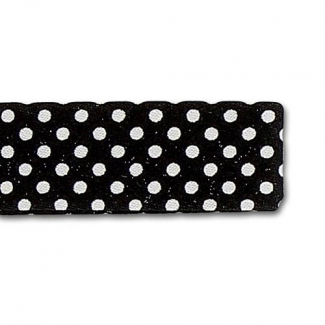 ** Single Fold Bias Dots White on Black 20mm (60cm)