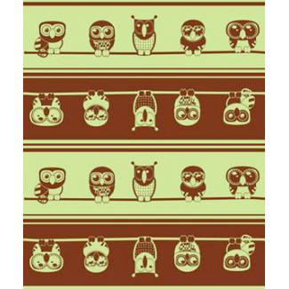 PUL poly print Owls sage width 140cm (per 10cm)
