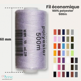 Fil à coudre polyester 500m économique