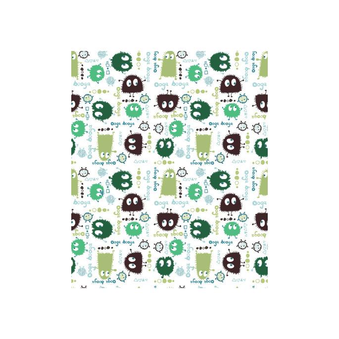 PUL poly imprimé Ooga Booga Vert laize 140cm (10cm)