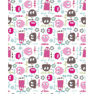 PUL poly print Ooga Booga Pink Brown 140cm (per 10cm)