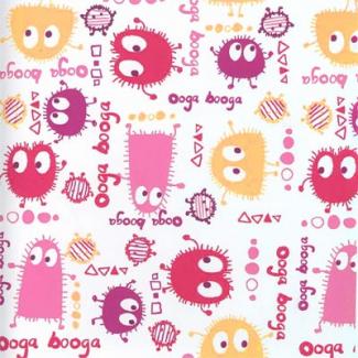 PUL poly print Ooga Booga Pink Red 140cm (per 10cm)