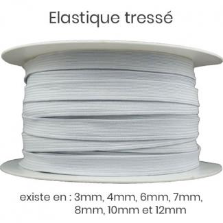 Elastique Tressé 9mm 14 gommes Blanc (au mètre)