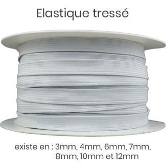 Elastique Tressé 10mm 16 gommes Blanc (au mètre)