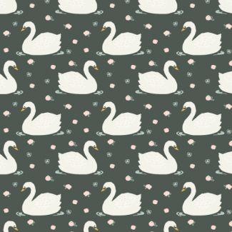 Organic cotton Popeline Swans Haerae