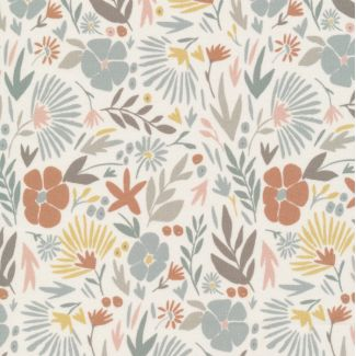 Popeline Coton Bio A House in Bloom Angelica Ivory Multi Form Cloud9