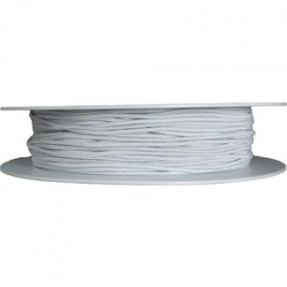 Elastique rond à chapeau 1.5mm Blanc (bobine 100m)