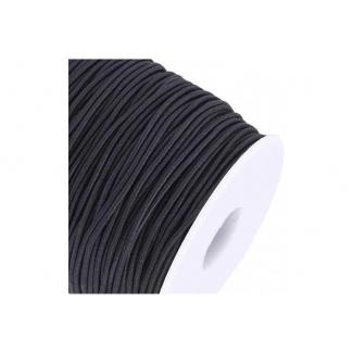 Elastique rond à chapeau 1.5mm Noir (bobine 100m)