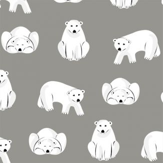 Organic cotton Flannel Polar Bears Gray Cloud9