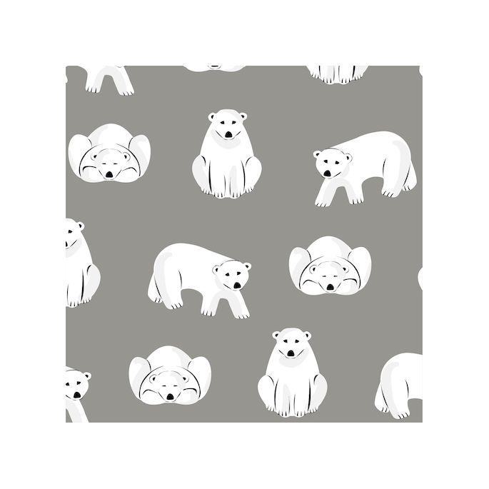 Organic cotton Flannel Polar Bears Gray Cloud9