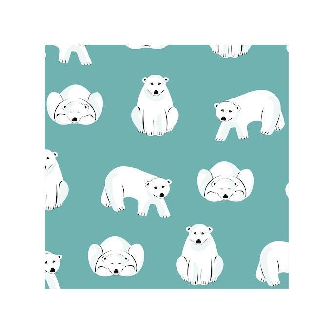 Organic cotton Flannel Polar Bears Turquoise Cloud9
