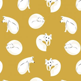 Organic cotton Flannel Winter Fox Dark Gold Cloud9