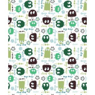 **Velours print Ooga Booga Green 140cm (1m)