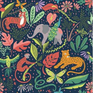 Organic cotton print Festival It's a Jungle Out There Monaluna