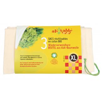 Organic Cotton Reusable Bags Size xL (3 pieces)