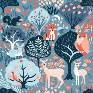 Coton Bio imprimé Modern Love Twilit Forest Monaluna