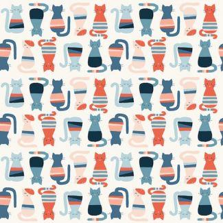 Coton Bio imprimé Modern Love Cool Cats Monaluna