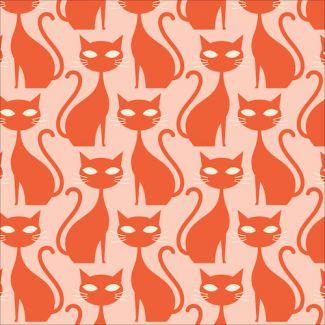 Velours Milleraies Coton Bio imprimé A Walk Remembered Orange Tabby Cat Cloud9