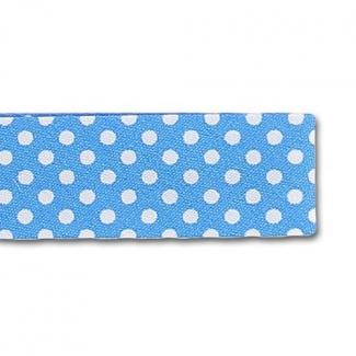 Single Fold Bias Dots White on Aqua Blue 20mm (25m roll)