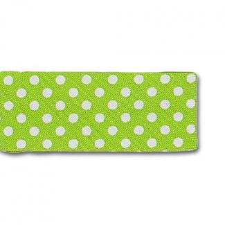 Single Fold Bias Dots White on Citron 20mm (25m roll)