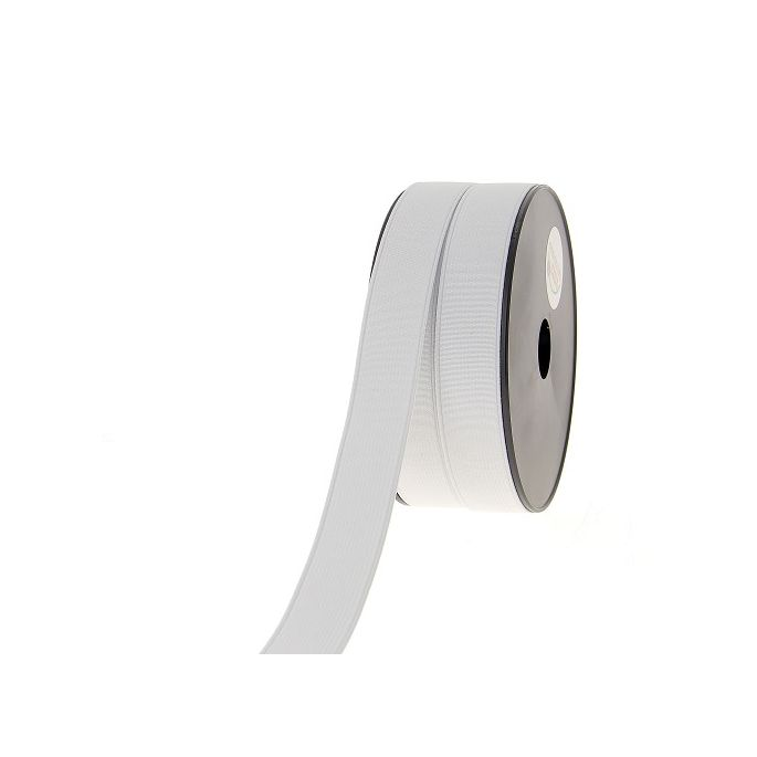 Ribbed Elastic White 25mm (by meter)