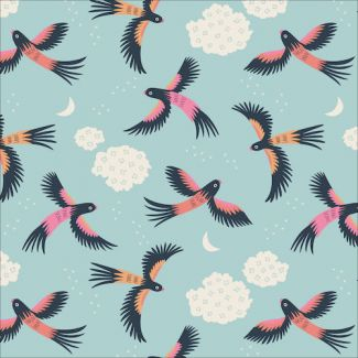 Popeline Coton Bio Tropical Garden Parrot Play Cloud9