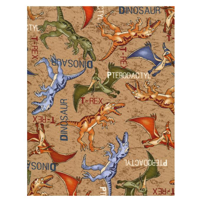 Coton imprimé Dinos café Timeless Treasure (par 10cm)