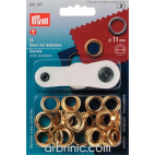 Eyelets 11mm Gold with tool (x15)