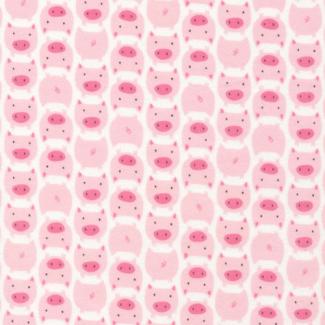 Coton Bio Flanelle imprimée Dolittles Pig Pink Cloud9 (par 10cm)