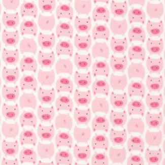 Organic cotton Flannel print Dolittles Pig Pink Cloud9