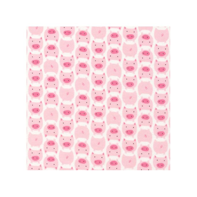 Organic cotton Flannel print Dolittles Pig Pink Cloud9