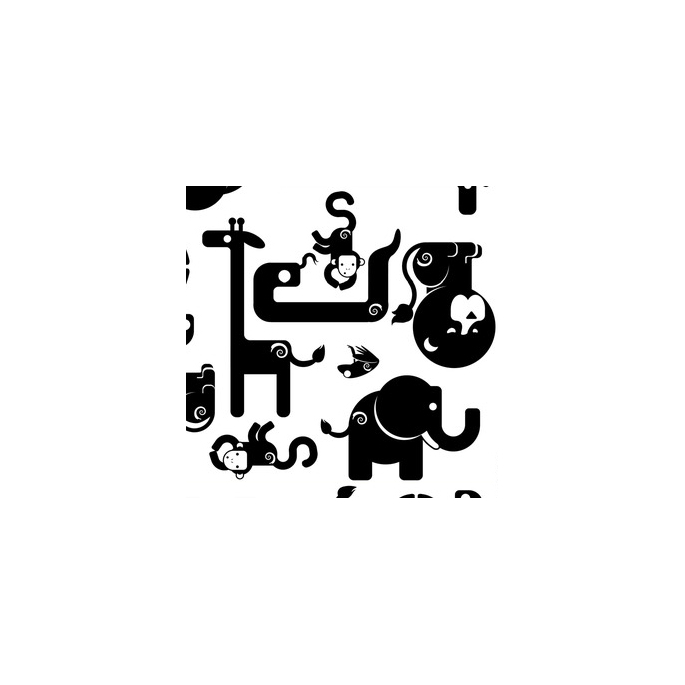 PUL poly print B&W Safari width 140cm (per 10cm)