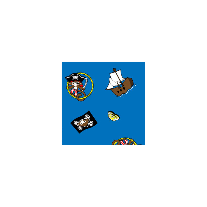 PUL poly imprimé Pirates / Bleu laize 140cm (par 10cm)