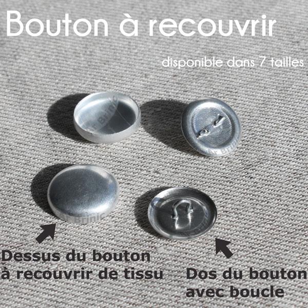 boutons en métal à recouvrir de tissu, composé de 2 parties
