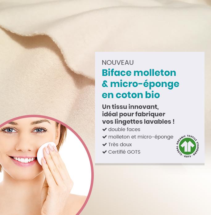 Tissu biface coton bio spécial lingette